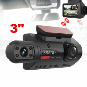 HD 1080P 3in Dual Lens HD Car DVR Rearview Video Dash Cam Recorder Camera