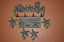 (6) Nautical Welcome Plaque Starfish Coat Hat Wall Hooks, Cast Iron, Seabreeze