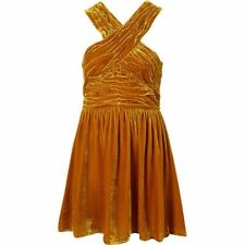 TOPSHOP gold mustard ochre CRUSHED VELVET halter CHRISTMAS party New Year DRESS
