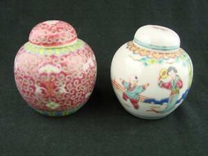 TWO BEAUTIFUL VINTAGE HAND PAINTED CHINESE GINGER JARS, MARKED TO BASE
