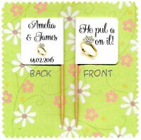 20 PERSONALISED HE PUT A RING ON IT ENGAGEMENT CUP CAKE FLAG Topper Decoration