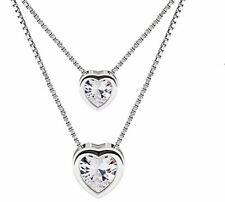 Damen Halskette Doppel Herzkette 925 Sterling Silber mit Etui