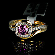 New 10k Yellow Gold Amethyst February Natural Real Diamond Womens Fashion Ring