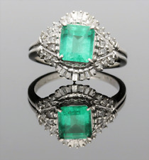 PLATINUM EMERALD & DIAMOND CLUSTER RING