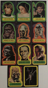 1977 Star Wars Topps Series 1 Complete Vintage Stickers Set (11) Nice!! See Pics