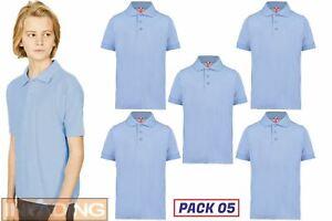 5x Kids PLAIN POLO SHIRT T-Shirt Boys Girls Blank Cotton Blend School PE Uniform