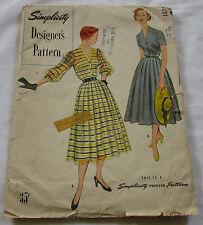 Vintage Simplicity 1950's Pattern 8251 Designer's Pattern Dress Slip S16 B34 FF