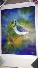Marcia Baldwin BLUE JAY - LE of 50 - Rare Giclee HS w/COA Bird 12 x 16 - Canvas