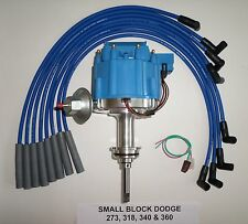 DODGE SMALL BLOCK 1964-89 273-318-340-360 HEI DISTRIBUTOR+BLUE Spark Plug Wires