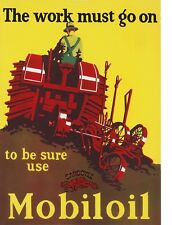 "TIN SIGN ""Mobiloil Tractor"" Gas  Oil  Signs  Rustic Wall Decor"