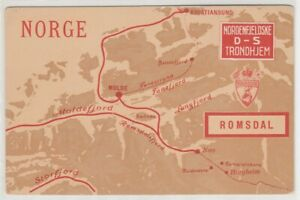 Norway, Area Map, Vintage Postcard, Lot - 23