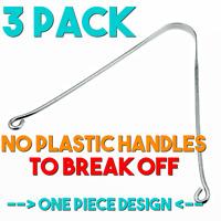 3 PACK No Plastic NO HANDLES TO BREAK Stainless Steel Tongue Scraper Cleaner