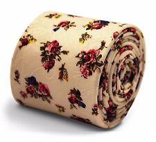 Frederick Thomas Marfil Crema Algodón Corbata Con Rosa y Azul Estampado Floral