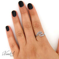 Sterling Silver 925 Filigree Water Ring Ocean Swirl Sea Wave Fashion Ring R68