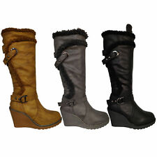 Ladies Boots Womens Long Knee Wedge Calf Leather Look Boots Buckle Warm Winter