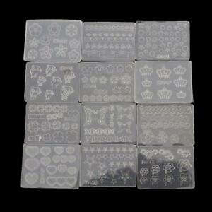12Pcs Mini Nail Art Silicone Mold Leaves Flowers Animals Template Resin Mold Kit