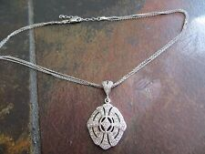 Victorian/Art Deco Style Pave CZ Sterling Silver Pendant Necklace 3 Row Chains n