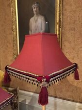 2 Vintage Victorian Downton Abbey Traditional Red Beaded Tassel Pagoda Lampshade