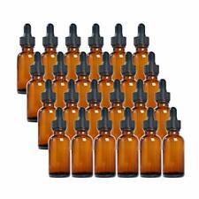 Magic Season Boston Round Glass Bottles Amber 1 Oz With Dropper 24 Pcs