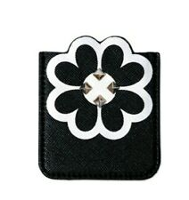 Flower Studded Black White Sticky 3M (Cell Phone Pocket) Wallet Card Holder Id