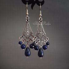 Lapis Lazuli long Chandelier Art deco vintage style triangle silver Earrings