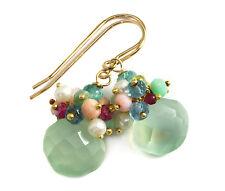 Green Chalcedony Earrings Cluster 14k Gold Filled Pearl Amethyst Topaz Opal