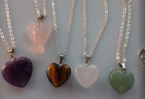 Amethyst,Tigers Eye,Aventurine,Rose Quartz Heart/Angel Pendant + Silver Necklace