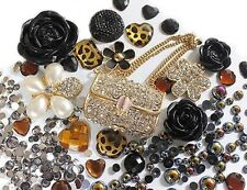 Bling Cell Phone Case Deco Kit: Golden Purse Black floral cabochons and Pearls