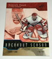 Dominik Hasek /99 made SP Breakout Season Insert Parallel Hockey Card Red Wings