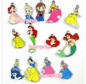 20pcs Cartoon princess Enamel Metal Charms Pendants DIY Jewelry Making
