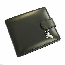 Black Leather Wallet with Silver Stags Head Design XLW1