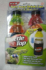 AS SEEN ON TV SET OF 12 BOTTLE TOPS TURN YOUR DRINK CAN INTO A BOTTLE NEW