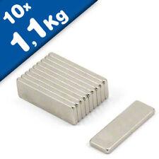 Aimant Bloc 25 x  8 x  1mm Néodyme N48, Nickelé - force 1,1 kg - 10 pièces