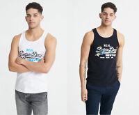 Superdry Mens New Summer Vintage Logo Infill Vest Top Black White