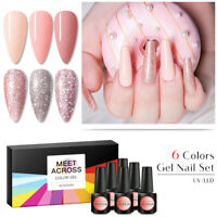 6Pcs/Set MEET ACROSS UV Gel Nail Polish Soak off Color Rose Gold Glitter Varnish