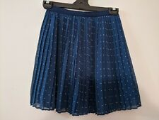 Uniqlo Women's Skirt Size M Blue Pleated White Polka Dots Elastic Waist