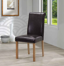 Dining Table Chairs Office Chairs Brown Leather Light Oak Wooden Legs Pack of 2