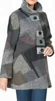 Damee Women's Coat Gray Size 1X Plus Geometric Printed Button Front $198 #116