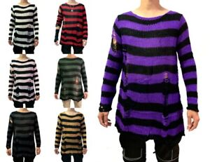 Men Punk Gothic Cool Striped Long Sweater Stretch Thin Pullover Broken Sweaters