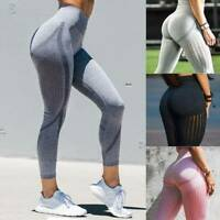Womens Seamless Yoga Leggings High Waist Push Up Fitness Sports Pants Running LC