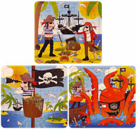 6 Pirate Jigsaw Puzzles - Pinata Toy Loot/Party Bag Fillers Wedding/Kids