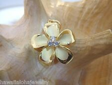 25mm Hawaiian 14k Yellow Gold Over Silver Brushed Satin Plumeria 3 CZ Pendant #3