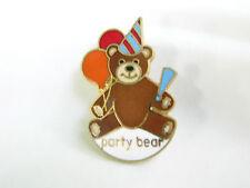 """""""Party Bear"""" PIN Brown Bear & Balloons, Hat Vtg. '84"""