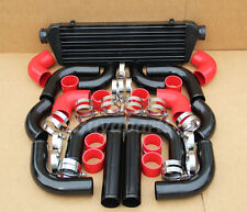 BLACK FIMC INTERCOOLER+ PIPING + RED COUPLER CLAMPS S2000 WRX STI IMPREZA EVO 8