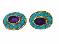 925 Solid sterling Silver Real Amethyst & Turquoise Gemstone Men's Cufflinks