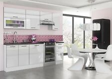 WHITE HIGH GLOSS Kitchen 7 Units Cabinets Set Black Accent Soft Close Legs 240cm