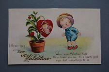 R&L Postcard: Greetings, Valentine Love Heart Plant Flower