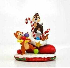 Disney Store Disneyland Paris Chip 'n' Dale Festive Christmas Figurine Ornament