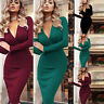 Womens Sexy V Neck Bodycon Dress Casual Long Sleeve Evening Party Dress Slim Fit