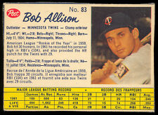 1962 POST CEREAL CANADIAN BASEBALL #83 Bob Allison EX+ Minnesota Twins SP card